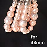 Rose Gold Pearl Apple Watch Band Elastic Jewelry Apple Watch Bracelet iWatch Replacement Strap Wristband for New Apple Watch Series 3 Series 2 Series 1 38mm All Version Pink Pearl Bracelet for Girls