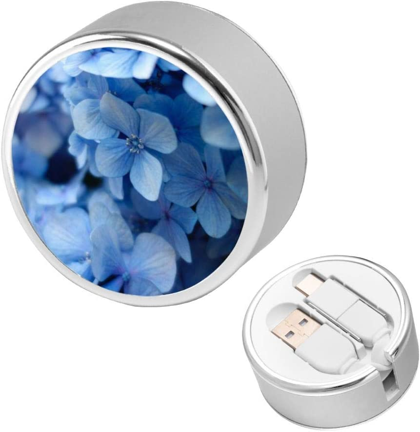 Charging Cable Round USB Data Cable Can Be Charged and Data Transmission Synchronous Fast Charging Cable-Close Up Photo of Blue Petaled Flower