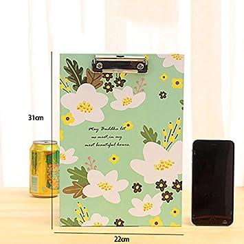 Orange 31cm Toruiwa Klemmbrett Schreibplatte Blume Muster mit Klemme Schreibmappe Clipboard aus Pappe f/ür Speisekarte Tageskarte 22