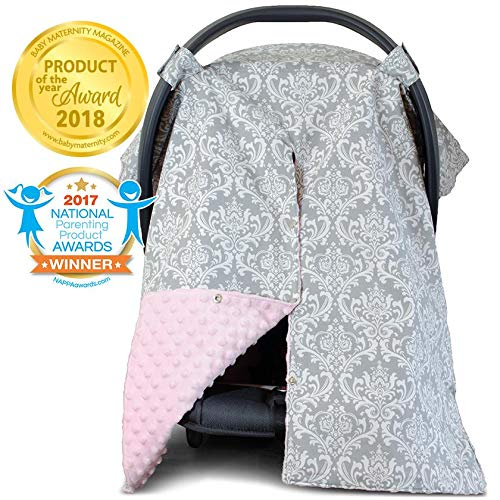 2 in 1 Carseat Canopy and Nursing Cover Up with Peekaboo Opening | Large Infant Car Seat Canopy for Girl | Best Baby Shower Gift for Breastfeeding Moms | Grey Damask Pattern with Soft Pink Minky