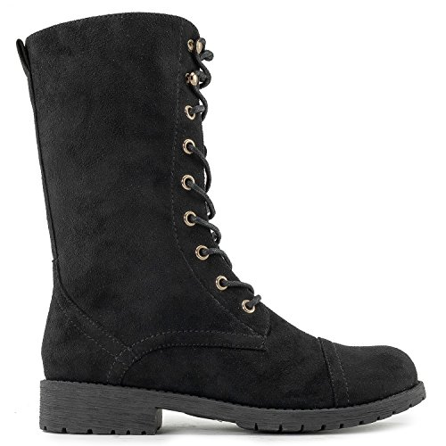 Lace Up Pocket Suede New Black Calf Military Combat Women's Boots Mid With TPwEtRnq
