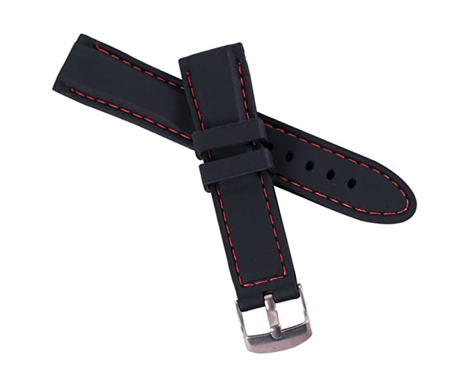 a1a2cfe0bc9 26Mm Silicone Perforated Pin Buckle Rubber Strap Diving Waterproof Sport  Soft Watch Band(Red Stitching