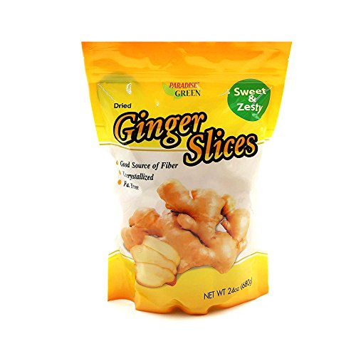 Paradise Green Premium Quality Dried Fruit Family Size Pack (Ginger Slices 24oz) -