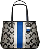 Coach 10054 Hamptons Signature Stripe Large Tote Khaki and Blue