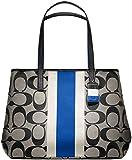 Coach 10054 Hamptons Signature Stripe Large Tote Khaki and Blue