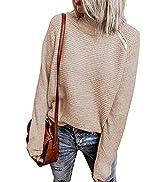 BTFBM Women Casual Long Sleeve Turtleneck Sweaters Oblique Quarter Zip Solid Color Cute Knit Ribb...
