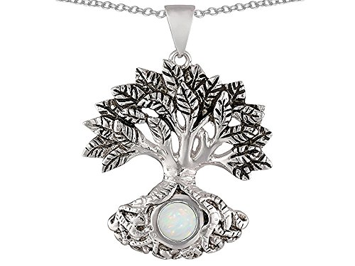 Star K Tree Of Life Good Luck Pendant Necklace with 7mm Round Created Opal Sterling Silver