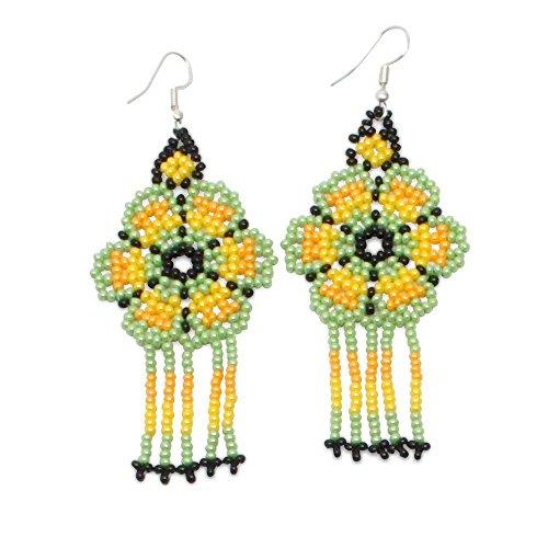 Ethnical Art Beaded Earrings Hand Crafted Fantasy Beads & Metal Dangle Hook - Lime (Metal Bead Earrings)