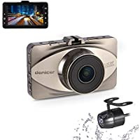Denicer Full HD 1080P Front and Rear Sony Sensor Dash Cam with Metal Shell, WDR, G-Sensor, Loop Recording