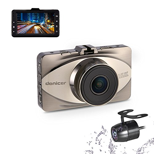 Denicer Dash Cam Front and Rear Sony Sensor Full HD 1080P Car Dashboard Video Driving Recorder 170 Degree Wide Angle Camera With Metal Shell, WDR, G-sensor, Loop Recording.
