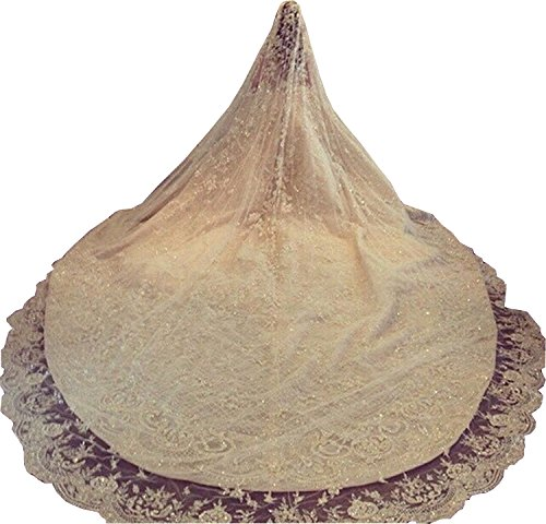 Newdeve Ivory 4M 1T Wedding Veils Cathedral with Rhinestones Crystal (Ivory) by New Deve