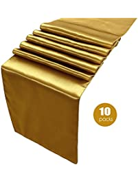 Gold Table Runners Pack Of 10 Satin Table Runner Gold,12 X 108 Inches