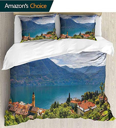 Modern Bedding Bedspread,Mountain Village on The Hills Como Lake Italian Town European Mediterranean Scenery Kids Bedding - Double Brushed Microfiber 104