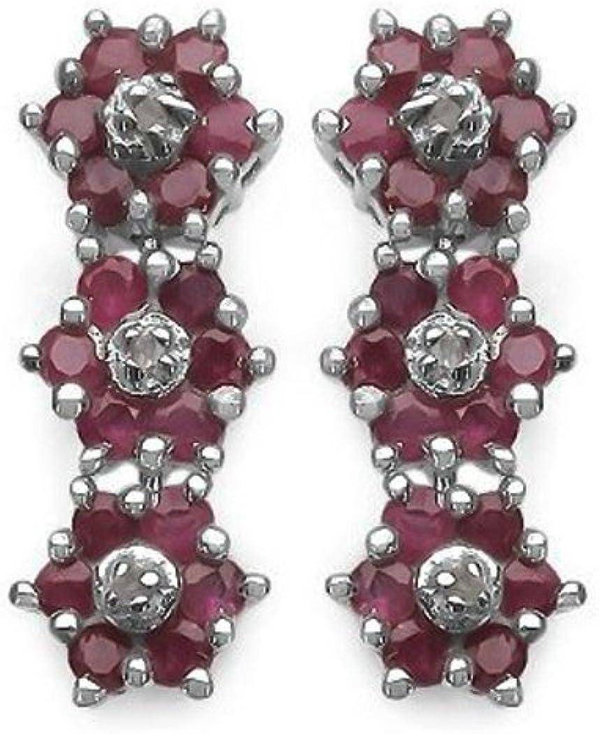 SchmuckMart - Pendientes de mujer de plata con rubi y diamante
