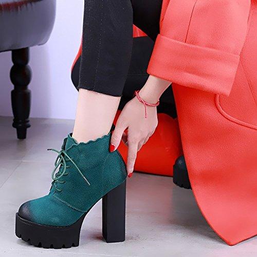 botas Martin botas agua con Estados verde tacón de de alto y de color retro invierno encaje khskx de cuadro grueso Unidos mujer marea zapatos europe los p7YqxwBg