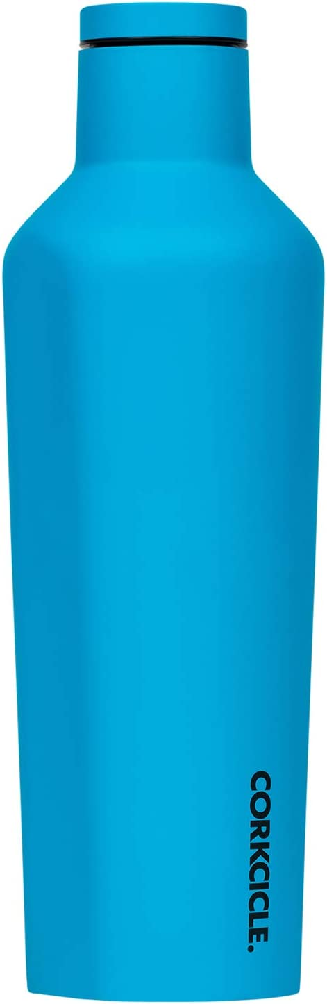 Corkcicle Canteen Neon Lights Collection - Triple Insulated Stainless Steel Travel Mug, Neon Blue, 16oz