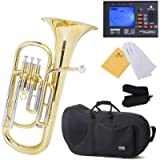 Mendini B-Flat Baritone Horn, Yellow Brass and Tuner, Case - MBR-30+92D