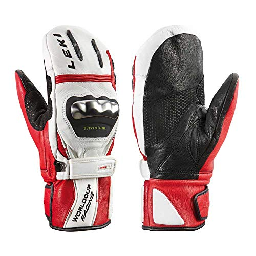 LEKI World Cup Racing TI S Ski Racing Gloves - XLarge-XXLarge/White Red Black