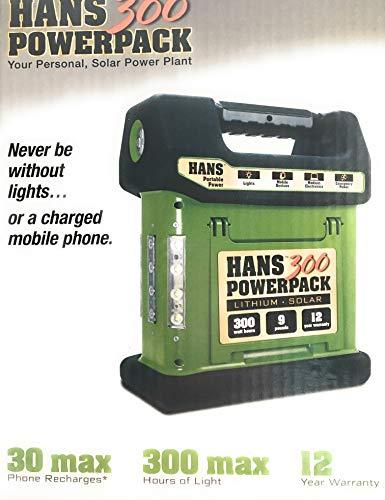 HANS 300 - Lithium Portable Solar Generator, 12 Year Warranty, Integrated 4.5W Solar Panel, 288Wh Li-Ion Battery S2 Equipment, LLC