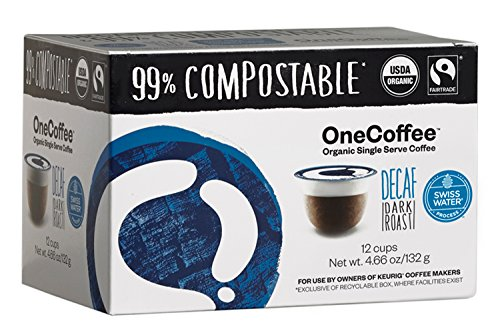 OneCoffee Organic Decaf Swiss Water 12 Count Single Serve Coffee 99% Compostable K Cup for Keurig (Blue Italian Creamer)