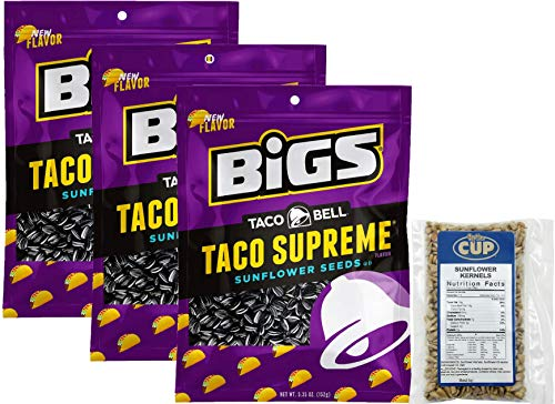 Taco Bell Taco Supreme Sunflower Seeds by BIGS, 5.35 Ounce (Pack of 3) - with 2 Ounce Bag of By The Cup Sunflower Kernels ()