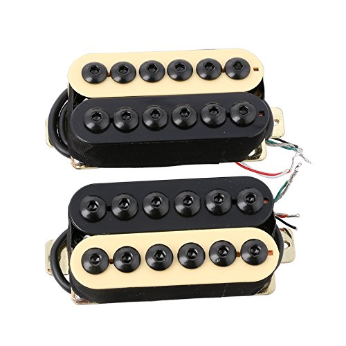 LYWS 2PCS Ceramic Magnet Invader Style Guitar Humbucker Pickup Bridge & Neck (Black+Ivory)