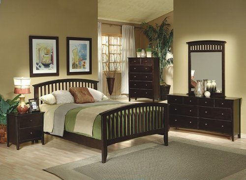5PCS Contemporary Cappuccino Finish Queen Size Bedroom Set - bedroomdesign.us