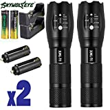 #5: Skywolfeye 2 Pack Flashlights 8000 Lumen Tactical Flashlight Super Bright T6 LED Zoomable Rechargeable Flashlights with 18650 Battery for Camping and Hiking