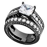 JunXin Black Gold Princess Cut White Diamond Wedding Bridal Set Two Pieces Round CZ Size6/7/8/9/10(9)