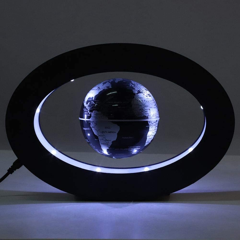Floating Globe with LED Lights Novelty Electronic Magnetic Levitation Floating Globe for Home School Office Display Gift Blue