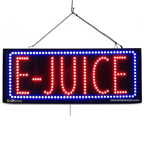 Large LED Window Smoke Shop Business Sign - E-Juice - Extra Bright LEDs - Can Be Seen Through Tinted Windows - Extra Large - 32 inches Wide (#2582)