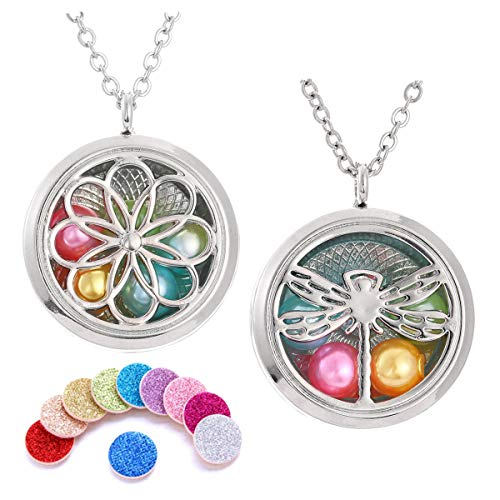 "2PCS Pearl Cage Beads Cage Necklace Aromatherapy Essential Oil Diffuser Necklace Two Patterns Pendant Locket Jewelry 25.6""+2"
