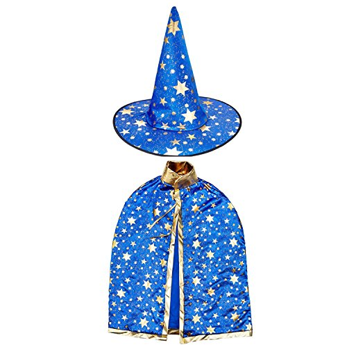 Dee Banna Halloween Costumes Witch Wizard Cloak With Hat For Kids Children Boys Girls Halloween Props Set (Blue)