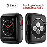 Apple Watch Series 3 Case 42mm, MYECOGO [2 Pack] iWatch 3 Super Thin Transparent Soft TPU Protective Bumper Cover Case for 2017 Apple Watch series 3 and Series 2 42mm TPU Black