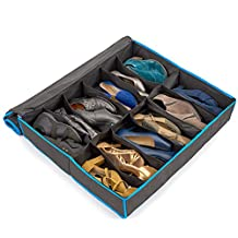 Underbed Shoes Storage Organizer, EZOWare 12 Pairs Shoes Under Bed Closet Fabric Breathable Dustproof Storage Organization Shoe Box Holder - Black