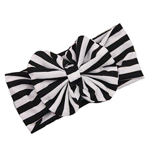 FEITONG(TM) New Lovely Baby Girl Big Striped Bow Elastic Headband Hairband