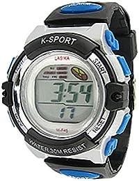 Black Blue Water Resistant Coldlight Alarm Sports Watch