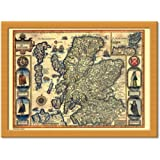 Castle Melamine Scotland Antique Map Cushion Lap Tray by Castle Melamine