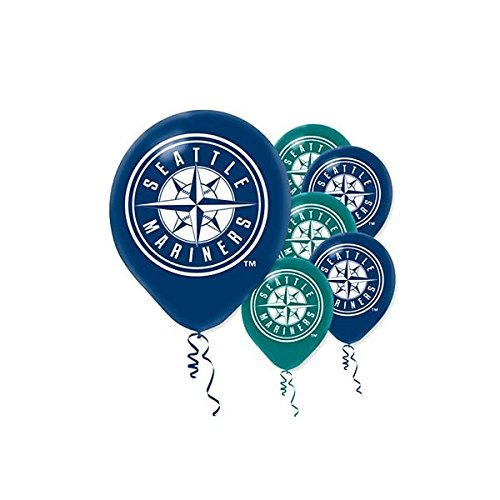 Seattle Mariners Hanging (Sports and Tailgating MLB Party Seattle Mariners Printed Latex Balloons Decoration, Blue and Green,12