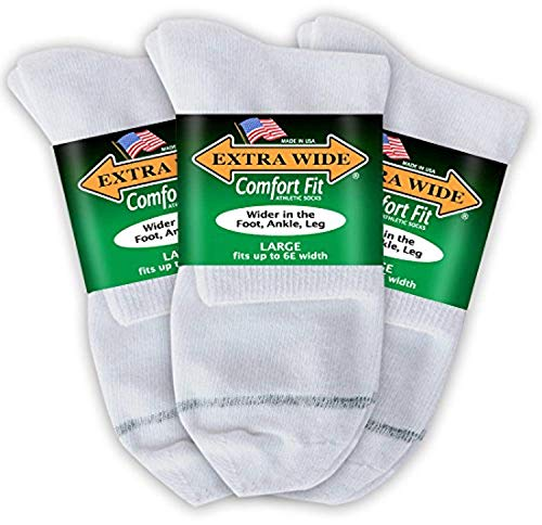 Big & Tall Men's Extra Wide Socks Athletic Quarter Size 11-16 WHITE 3-Pack #1210A ()
