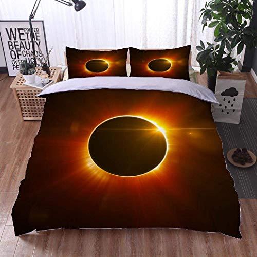 - VROSELV-HOME Modern Pattern Printed Duvet Cover,Solar Eclipse,Soft,Breathable,Hypoallergenic,100% Cotton Beding Linens for Kids Children