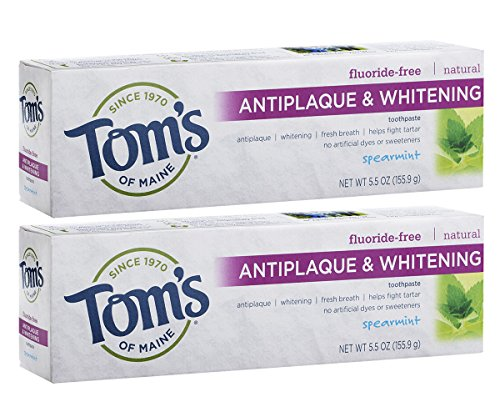 Tom's of Maine Fluoride-Free Antiplaque & Whitening Toothpaste, Natural Toothpaste, Fluoride Free Toothpaste, Spearmint, 5.5 Ounce, 2-Pack (Best Natural Toothpaste Reviews)