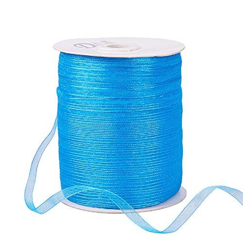 BENECREAT 1Roll 1/4″ 500 Yards/Roll Sparkle Sheer Organza Ribbon for Chrismas Festive Decoration DIY Crafts Arts & Garden,Blue