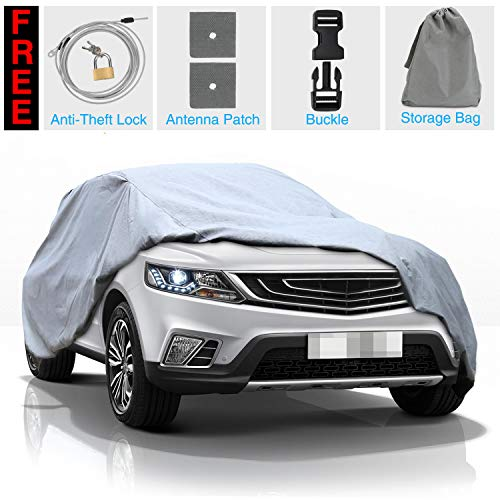 """KAKIT SUV Car Cover Waterproof All Weather SUV 5 Layers Cover Windproof Breathable UV Protection Durable for Outdoor Indoor, Fits up to SUV 180"""""""