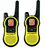 motorola 2 way radios long range - Motorola TalkAbout Two Way Radio, with Long Range 23 Mile Communication, and iVOX Handsfree Feature, 7 NOAA Weather Channels, and Scan and Alert Features, 2 Belt Clips and Dual Drop In Charger Included
