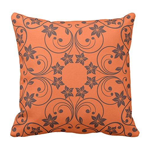 Floral Design Orange and Brown Flower Pattern Home Decor Square Throw Pillowcase Cushion Cover Pillow Vintage, 20X20 - Floral Versace