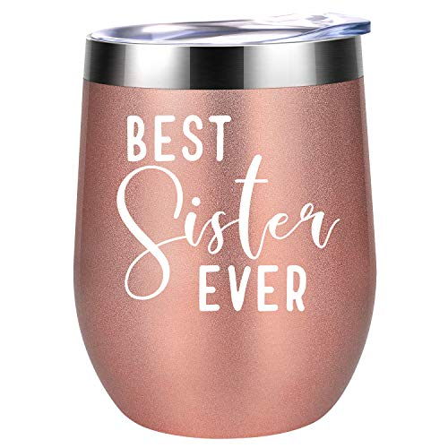 (Best Sister Ever   Funny Novelty Sister Gifts for Birthday, Mother's Day   Coolife 12 oz Insulated Stainless Steel Sippy Cup with Lid and Straw)