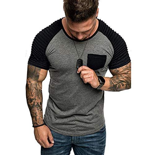 Mens Casual T-Shirts Man Simple Splicing Pattern Short Sleeve Tops Summer Running Sports Blouse Shirt with Pocket Gray