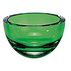 "Penelope Hand Blown Crystal Bowl In Spring Green 6""D"