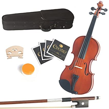 Mendini 14-Inch MA250 Natural Varnish Solid Wood Viola with Case, Bow, Rosin, Bridge and Strings 14MA250